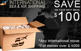Save $200 on your next international move of over $2,000. Print the coupon.